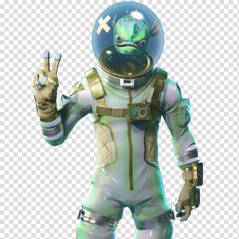 Green alien character illustration, Fortnite Battle Royale.