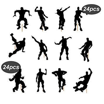 Pinkaboo 24pcs Dance Floss Cupcake toppers for Birthday Cake Game.