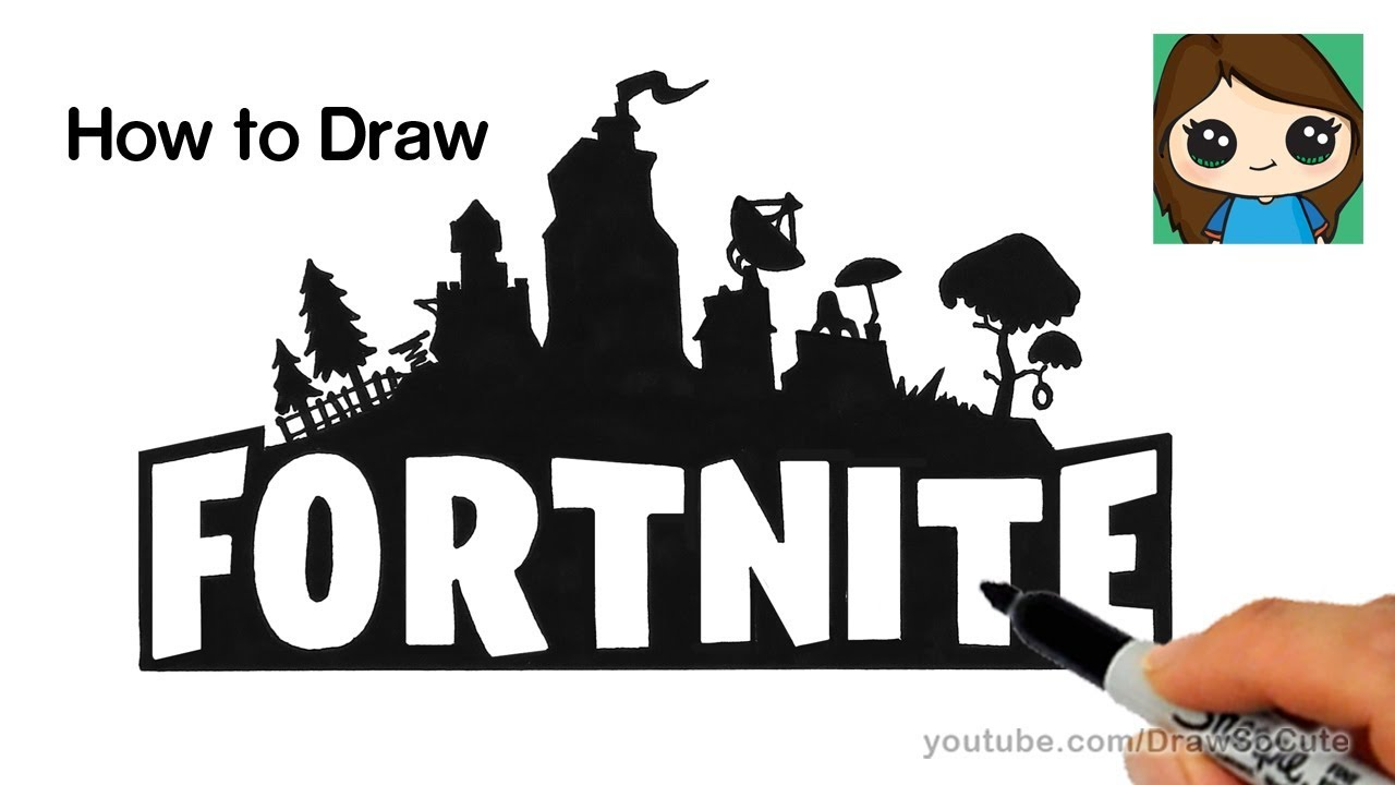 How to Draw Fortnite Logo Easy.