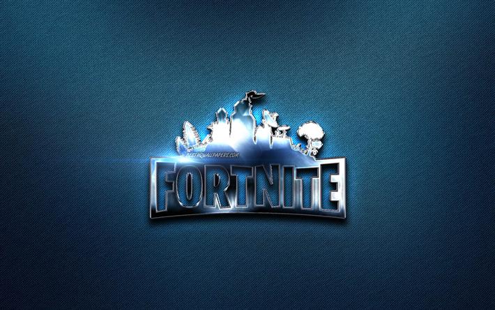 Download wallpapers Fortnite metal logo, 2019 games, blue.