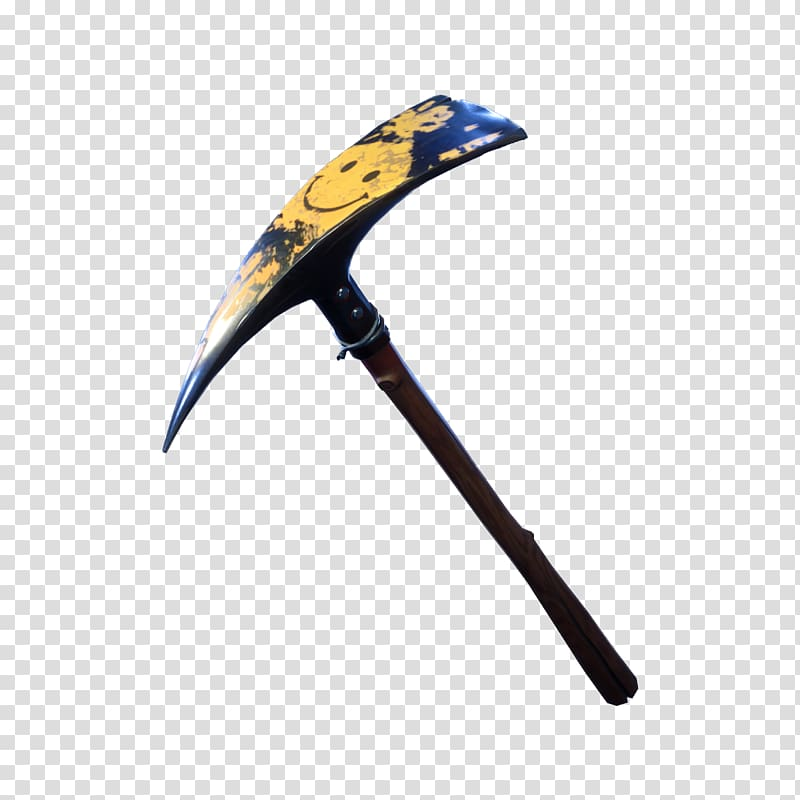 Black and yellow smiley graphic pickaxe, Fortnite Battle.