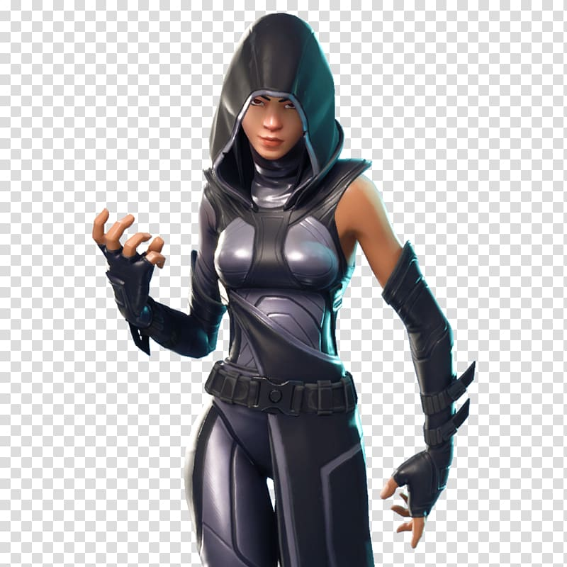Woman wearing gray and black hoodie, Fortnite Battle Royale Xbox One.