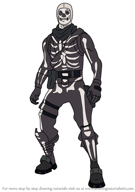 Learn How to Draw Skull Trooper from Fortnite (Fortnite) Step by.