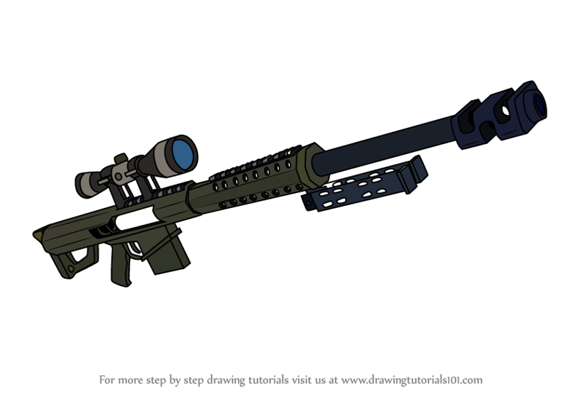 Learn How to Draw Heavy Sniper Rifle from Fortnite (Fortnite) Step.