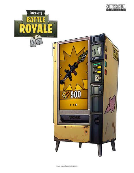 Fortnite Vending Machine Coloring Page.