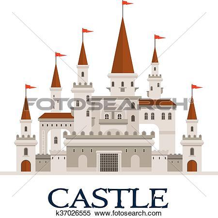 Clipart of Castle fortress symbol for architecture design.