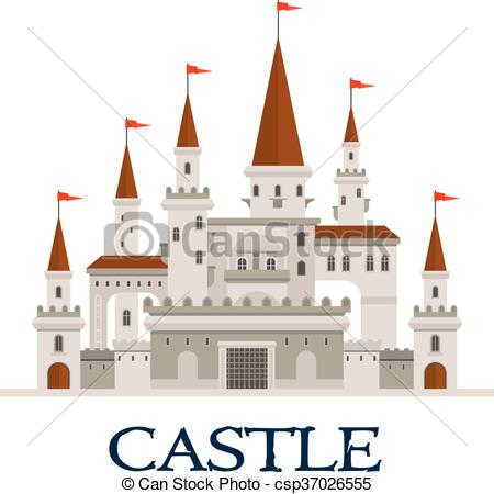 Clipart Vector of Castle fortress symbol for architecture design.