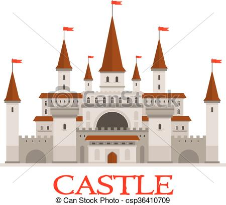 Vector Clipart of Medieval castle or fortress with red flags icon.