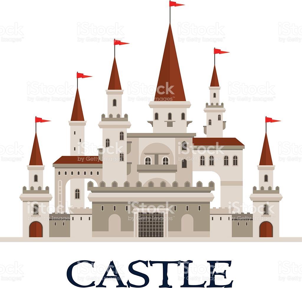 Castle Fortress Symbol For Architecture Design stock vector art.