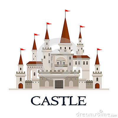 Castle Fortress Symbol For Architecture Design Stock Vector.
