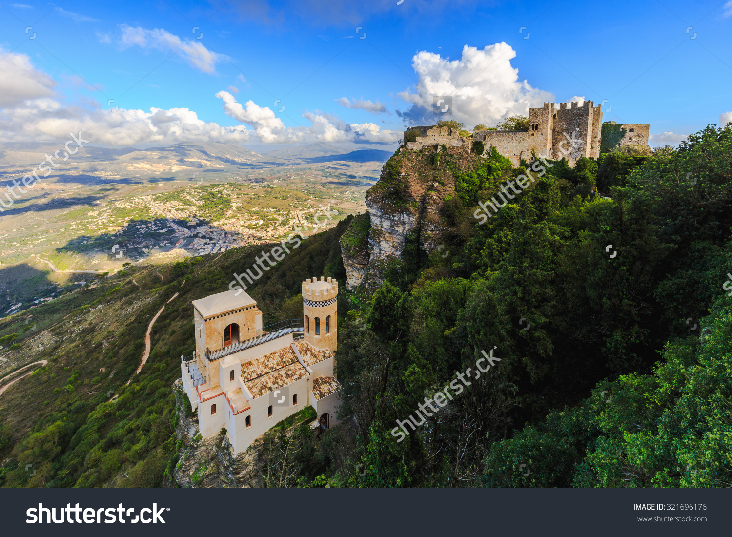 Mountain Fortress Village Erice On Sicily Stock Photo 321696176.