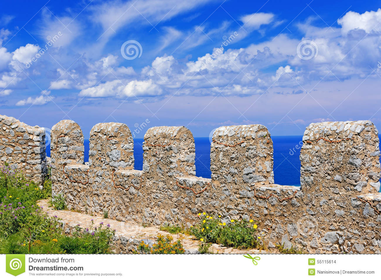 Ancient Fortress On Mountain In Cefalu City On Sicily Island Stock.