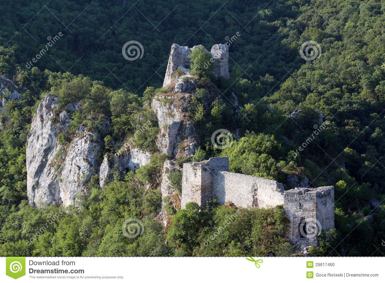 Old Ruined Fortress On Mountain Stock Photo.
