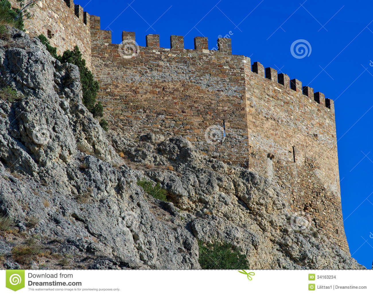 Ruins Of An Ancient Genoa Fortress On A Mountain In Sudak, Crimea.