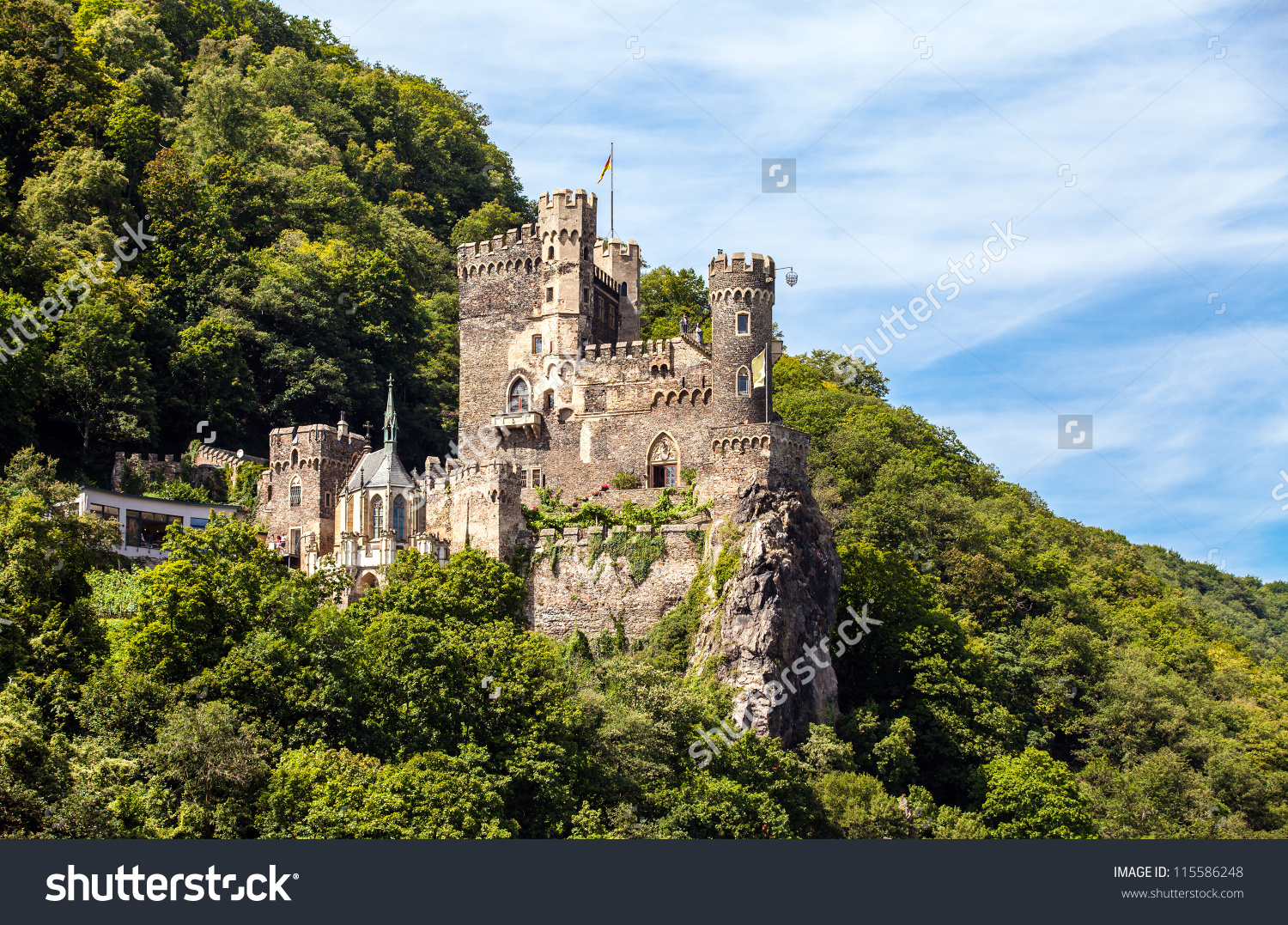 Medieval Fortress Mountains Stock Photo 115586248.
