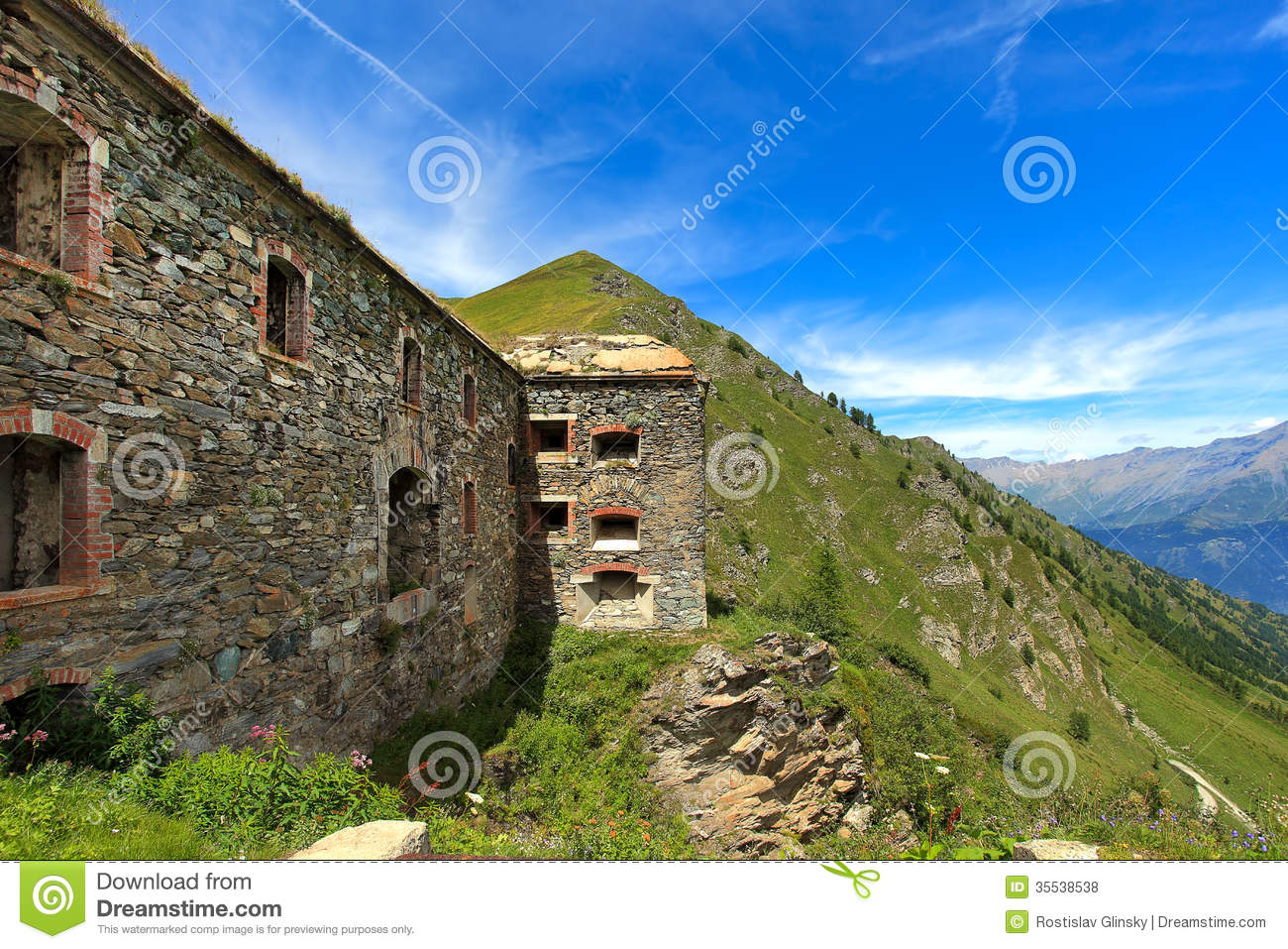Abandoned Military Fortress In The Mountains. Royalty Free Stock.