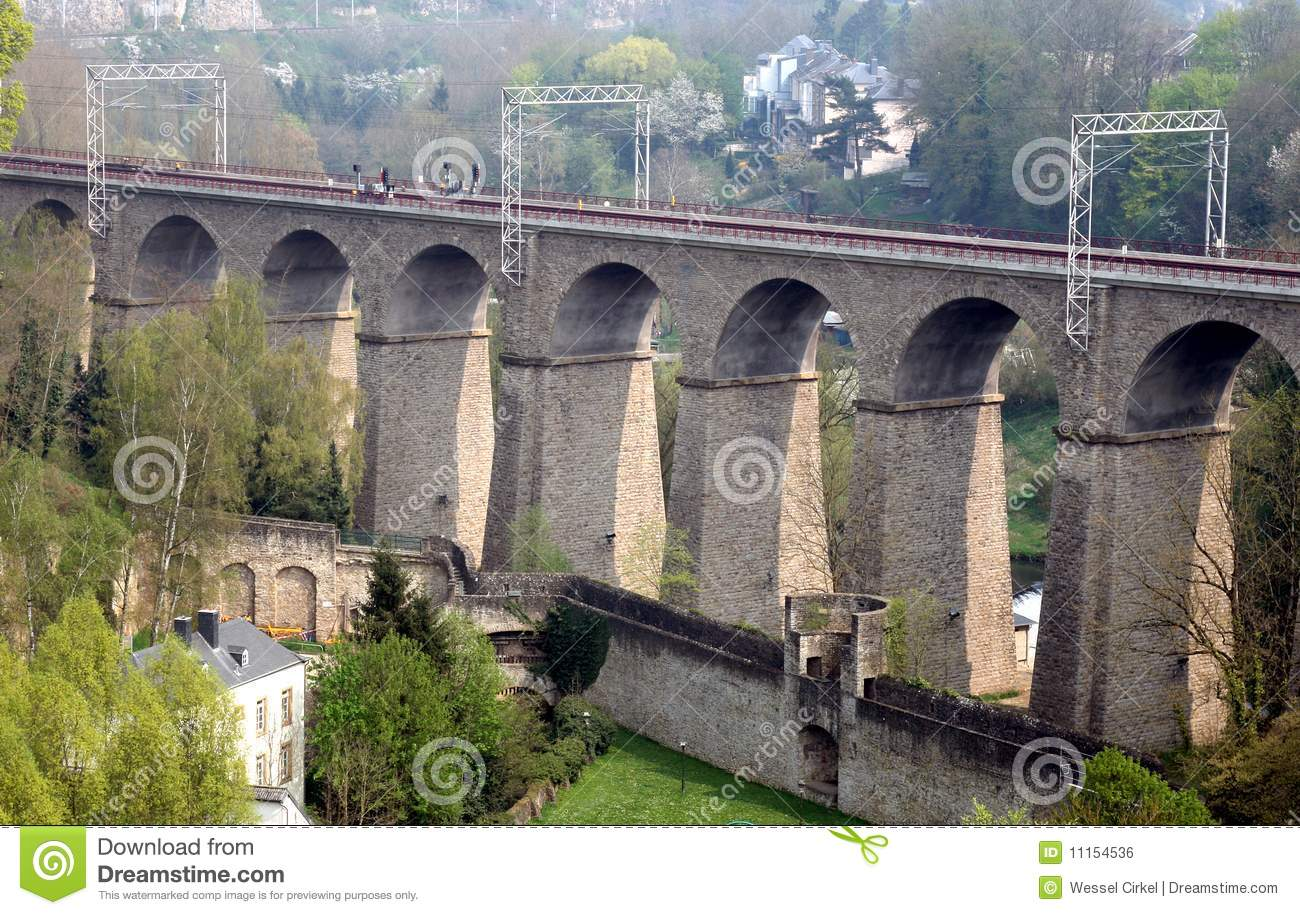Railway Viaduct Pulvermuhle In Luxembourg City Royalty Free Stock.