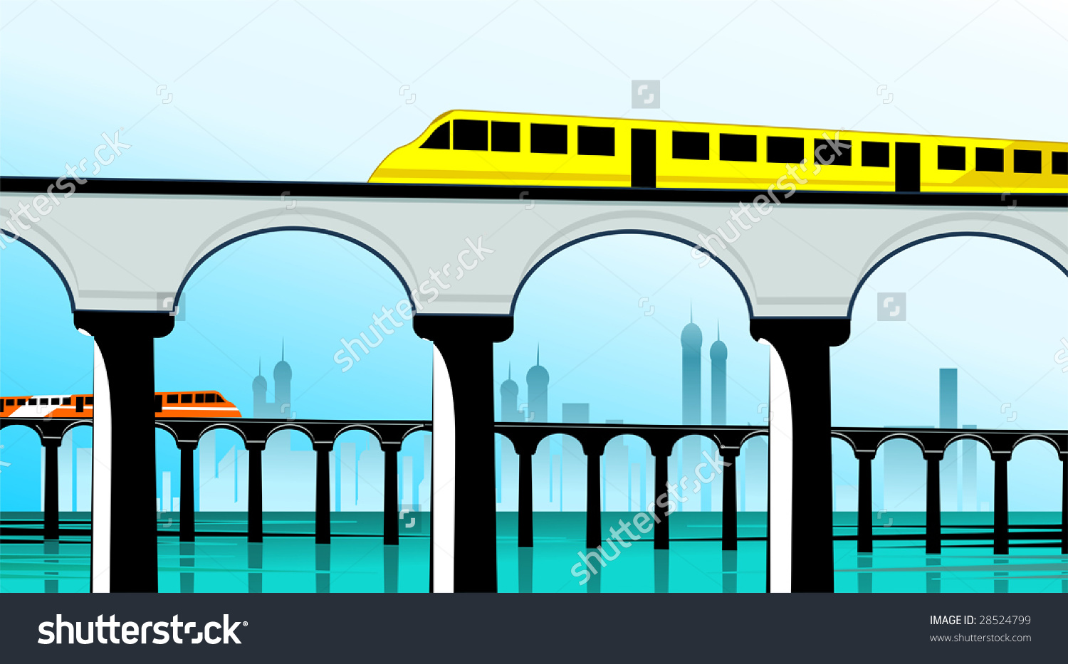 Illustration Train Moves Over Bridge Stock Vector 28524799.