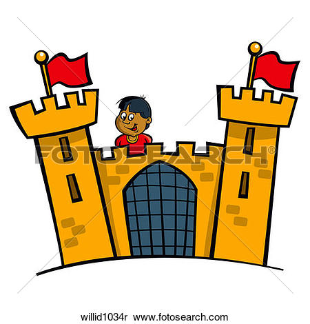 Stock Image of castle, tower, flag, fortress, gate, ramparts.