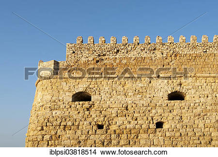 """Stock Photo of """"Ramparts of Venetian Koules Fortress or Rocca al."""