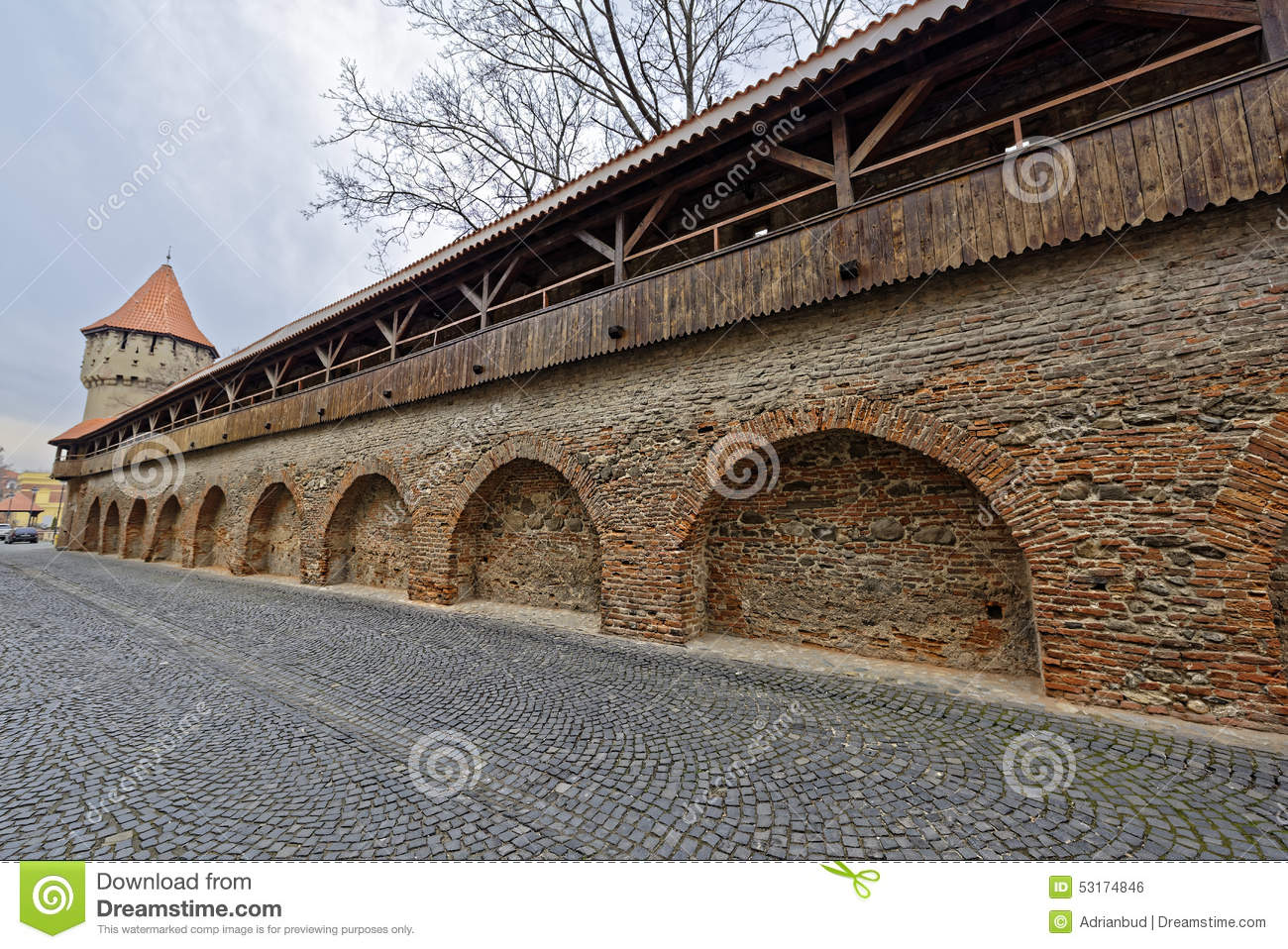 Wooden Ramparts Of The Fortress Wall And Tower Sibiu Romania Stock.