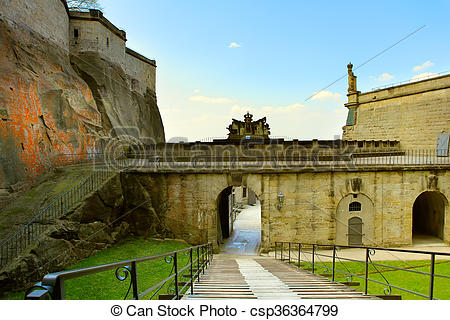 Stock Photographs of The rampart of the Koeningstein fortress near.