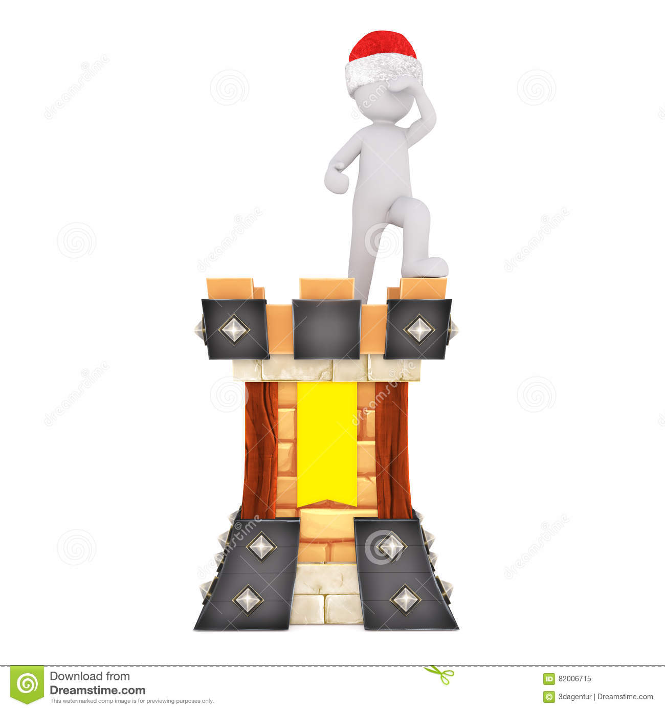 Medieval 3d Guard Standing Lookout On Ramparts Stock Illustration.