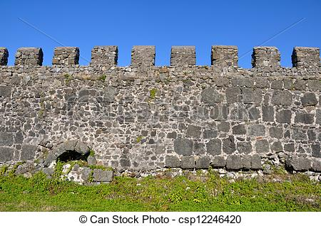 Stock Photo of section of the fortress wall of Gonio Fortress.