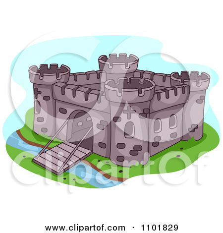 Clipart Fortress With A Bridge Gate Down Over A Moat.