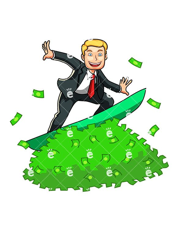 A Man Surfing A Rich Tide Of Money in 2019.