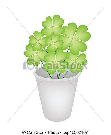 Clip Art Vector of Four Leaf Clovers in A Flower Pot.