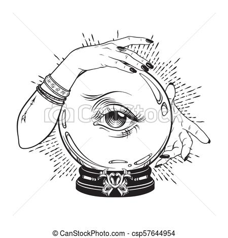 Crystal ball in hands of fortune teller.