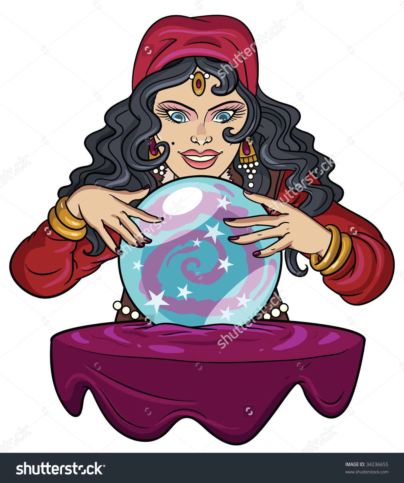 Fortune teller with crystal ball clipart.