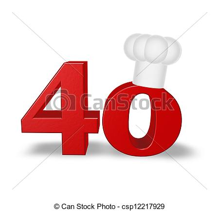 Clip Art of number forty cook.
