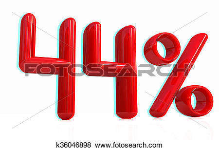"Stock Illustration of 3d red ""44""."