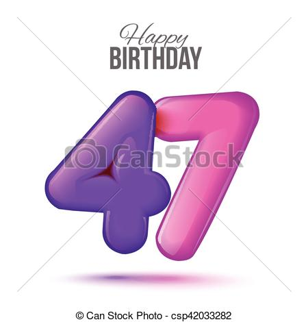 Vector of Birthday greeting card template with glossy forty seven.