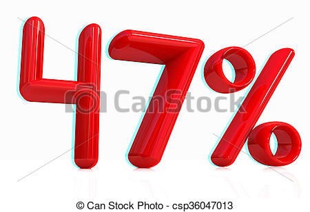 """Stock Photography of 3d red """"47""""."""