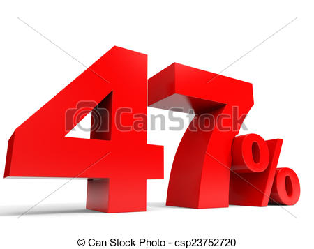 Clip Art of Red forty seven percent off. Discount 47%. 3D.