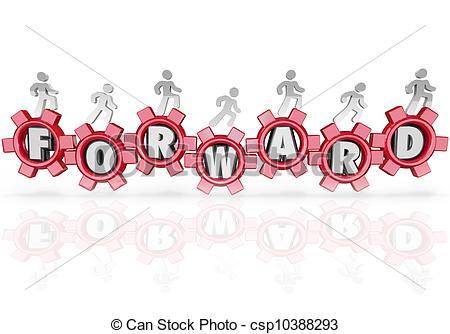 Stock Illustration of Forward Team People Marching Walking.