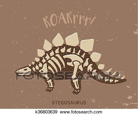 Cartoon stegosaurus dinosaur fossil. Vector illustration Clip Art.