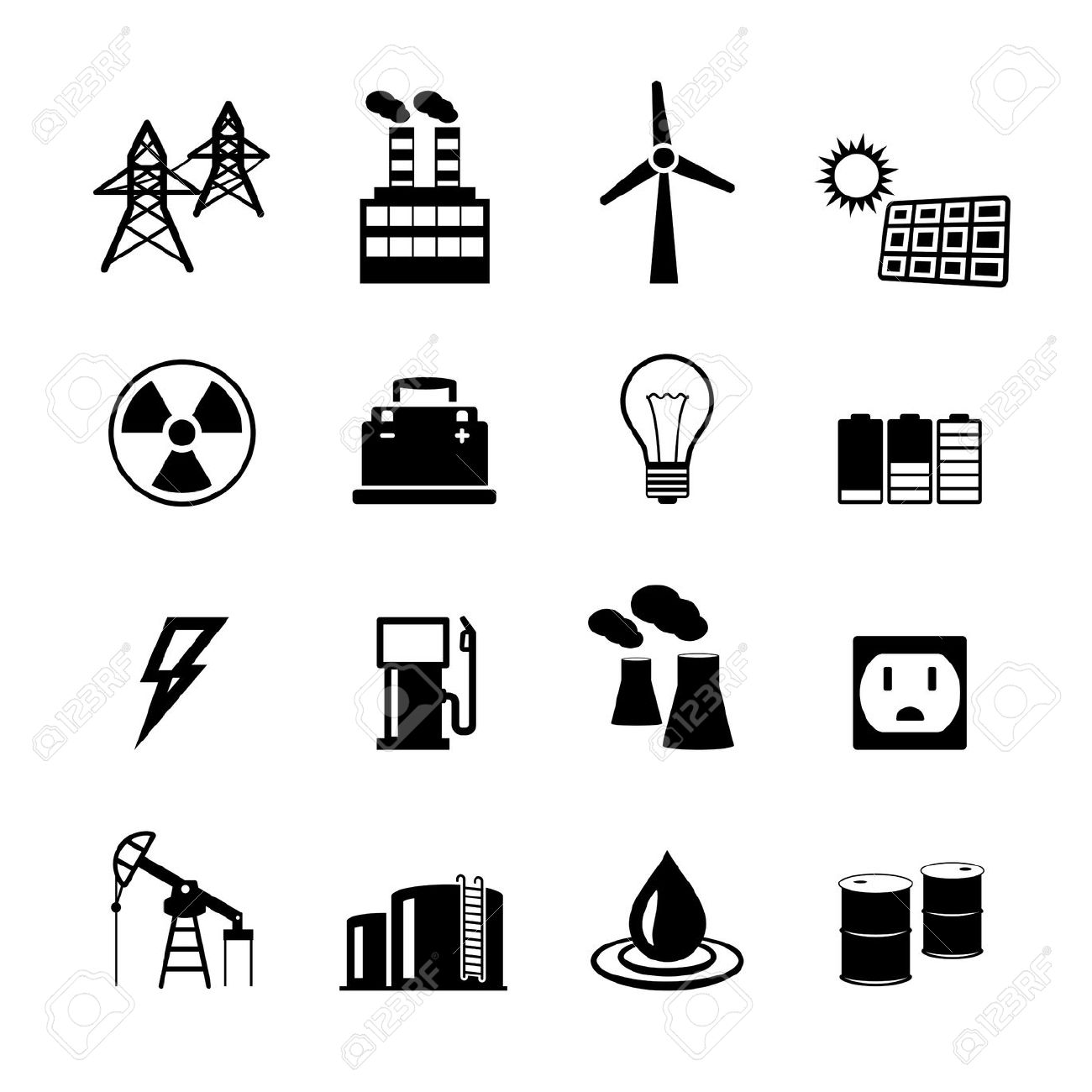 Energy Power Pictogram Collection Of Light Bulb Electric Battery.