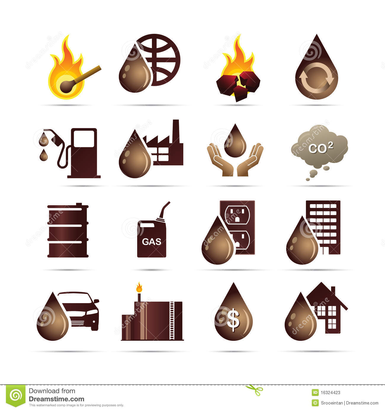 Oil And Fossil Fuel Energy Icons Stock Photos.