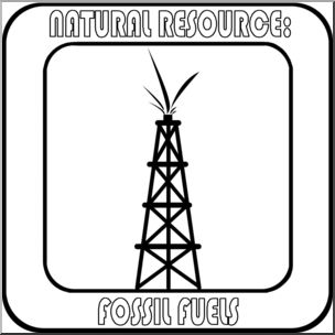 Clip Art: Natural Resources: Fossil Fuels B&W Labeled.
