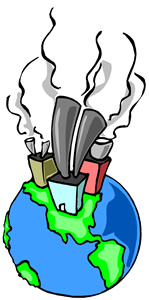 Burning fossil fuels clipart.