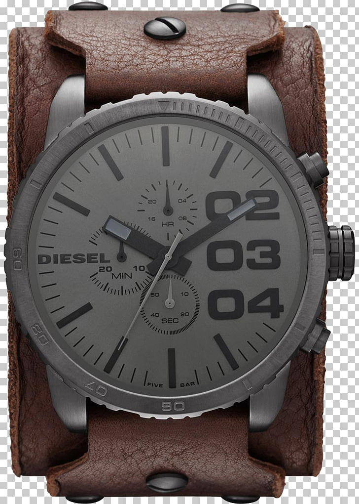 Diesel Watch Strap Leather Chronograph, fossil PNG clipart.