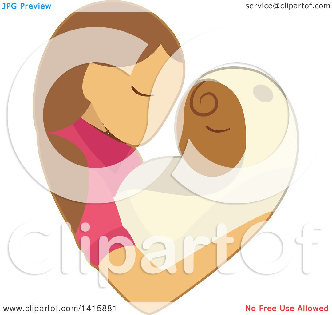 Clipart of a Charity Heart of a Woman Fostering or Adopting a Baby.