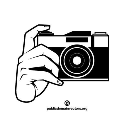 Photo camera monochrome clip art.