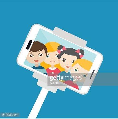 Selfie fotoğraf yapma çocuk. Vektör karikatür çizim. Clipart.