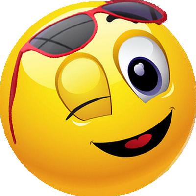 FV + smiley jaune avec lunettes de soleil.