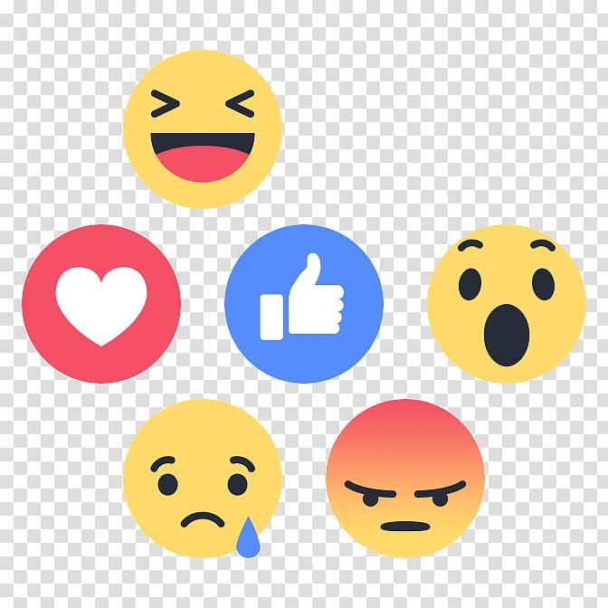 Reacciones de Facebook, illustration of six emojis.